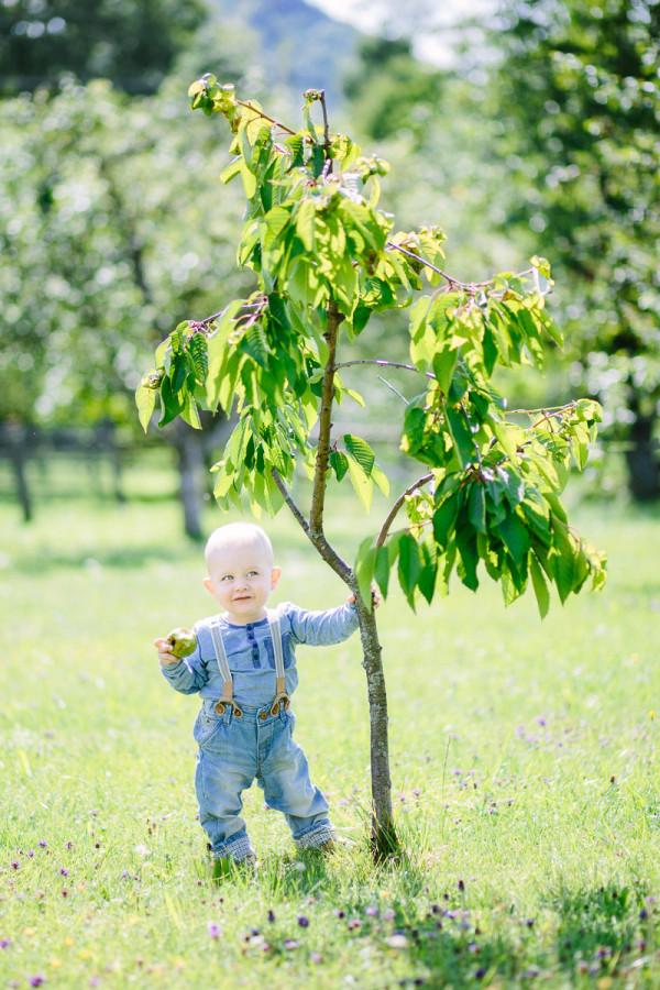 Kind steht an Baum gelehnt mit Apfel